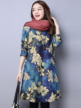 Ericdress Thickening Print Round Collar Loose Casual Dress