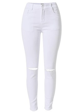 Ericdress High-Waist Holes Patchwork Washable Skinny Jeans