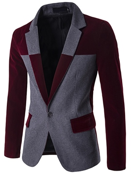 Ericdress Color Block Patchwork One Button Slim Men's Blazer