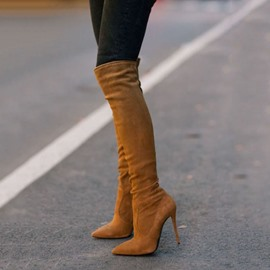 Ericdress Brown Knee High Stiletto Boots