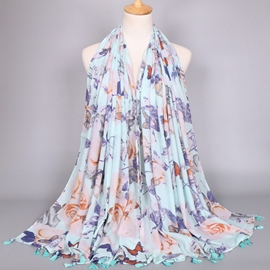 Ericdress Butterfly & Flowers Printed Women's Scarf