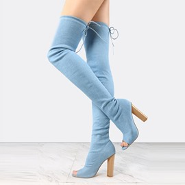 Ericdress Peep Toe Chunky Heel Over the Knee Denim Boots