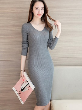 Ericdress Korean V-Neck Knitting Knee-Length Sweater Dress