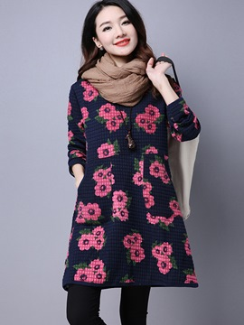 Ericdress Floral Print Round Collar Pocket Loose Casual Dress