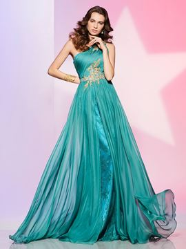 Ericdress Unique One Shoulder Applique Beaded Lace Chiffon Prom Dress
