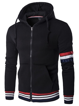 Ericdress Stripe Zip Casual Thicken Warm Men's Hoodie