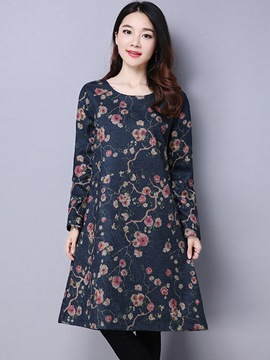 Ericdress Ethnic Floral Prnt Round Collar Trumpet Casual Dress