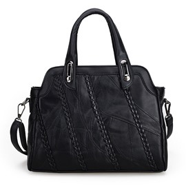 Ericdress Black Braided Rivets Lambskin Handbag