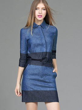 Ericdress Color Block Lapel Patchwork Mini Skirt Suit