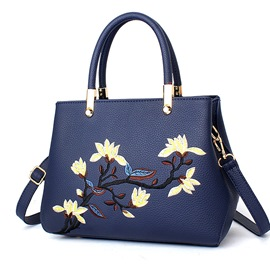 Ericdress Ladylike Floral Embroidery Motorcycle Handbag