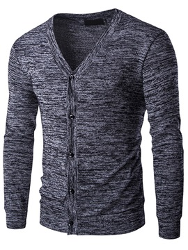 Ericdress Solid Color Single-Breasted Slim Men's Sweater