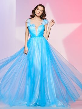 Ericdress Fancy Design A Line Flower Tulle Deep Neck Floor Length Prom Dress
