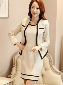 Ericdress Color Block Wrapped Long Sleeve Dress Suit