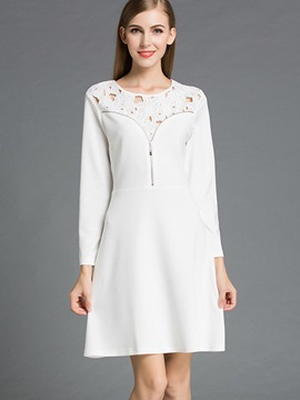 Ericdress Hollow ZipperPatchwork Back Hole Pleated Casual Dress