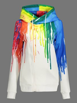 Ericdress Color Block Painted Casual Hoodie