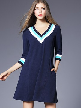 Ericdress V-Neck Colorful Strip Patchwork Pocket Casual Dress