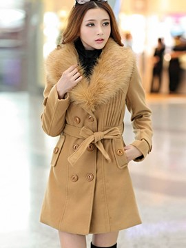 Ericdress Solid Color Slim Double-Breasted Pleated Coat