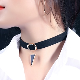 Ericdress Triangle Pendant Wrap Velvet Collar Necklace