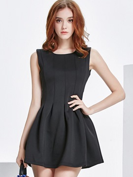 Ericdress Stylelines Pleated Sleeveless Above Knee Little Black Dress