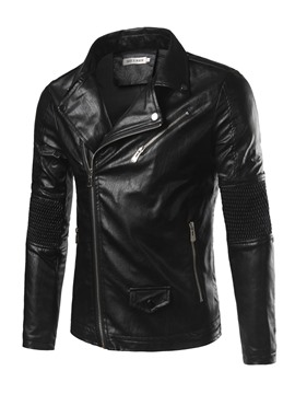Ericdress Black PU Zip Pocket Vogue Casual Men's Jacket