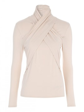Ericdress Turtle Neck Apricot Slim Blouse