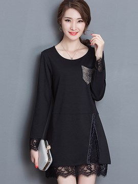 Ericdress Split Lace Patchwork T-Shirt
