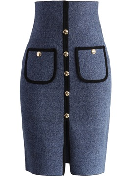 Ericdress High-Waist Rivet Patchwork Skirt
