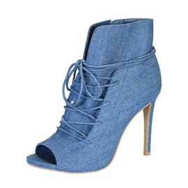 Ericdress Denim Blue Lace Up Street Booties