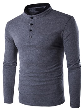 Ericdress Patchwork Stand Collar Long Sleeve Casual Men's T-Shirt