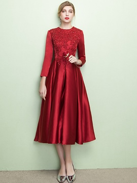 Ericdress Fancy A-Line 3/4 Length Sleeves Appliques Beading Tea-Length Evening Dress