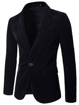 Ericdress Solid Color Corduroy One Button Slim Men's Blazer