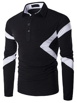 Ericdress Unique Color Block Shirt Collar Long Sleeve Men's T-Shirt