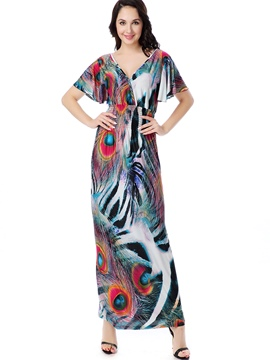 Ericdress Colorful Print V-Neck Batwing Sleeve Short Sleeve Maxi Dress