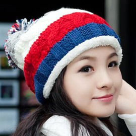 Ericdress Colored Stripe Earmuffs Knitted Hat