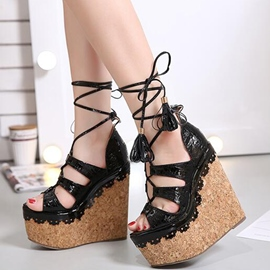 Ericdress Ethnic PU Lace up Tassels Wedge Sandals