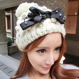Ericdress Black Bowknot Design Pearls Embellished Knitted Hat