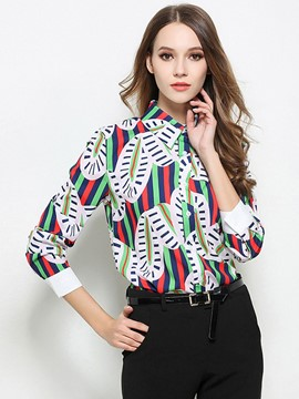 Ericdrss Printed Single-Breasted Lapel Blouse