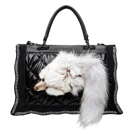 Ericdress Vogue Fuzzy Fox Plaid Handbag