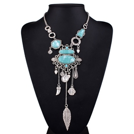 Ericdress Geometric Imitation Turquoise Leaf Tassels Necklace