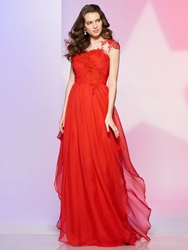 Ericdress A Line Bateau Neck Short Sleeve Applique Chiffon Long Prom Dress