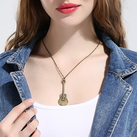 Ericdress Vintage Style Bronze Guitar Pendant Necklace