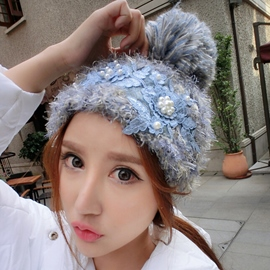 Ericdress Lace Flowers Patchwork Thicken Knitted Hat