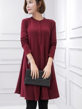 Ericdress Single-Breasted Pullover Pleated Loose Asymmetrical Casual Dress