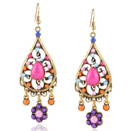 Ericdress Colorful Resin Water Drop Pendant Earrings