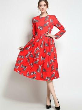 Ericdress Christmas Anmial Print Pleated Casual Dress