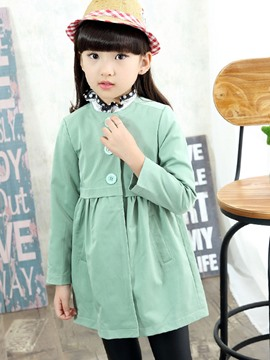 Ericdress Plain Stand Collar Single-Breasted Girls Trench Coat