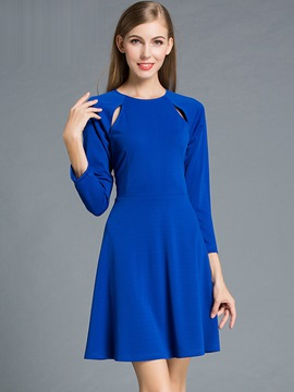 Ericdress European Hollow Round Hollow Pleated Casual Dress