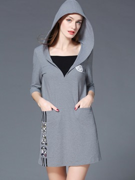 Ericdress V-Neck Hooded Print Pocket Casual Dress