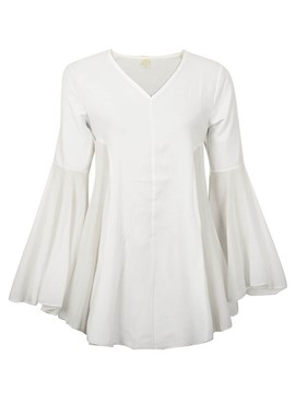 Ericdress Flare SLeeve Pleated Plus Size Blouse