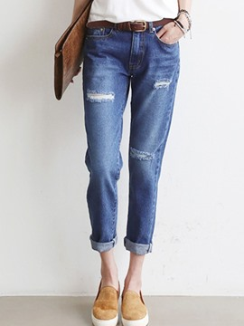 Ericdress Plain Color Holes Washable Loose Denim Jeans